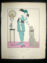 Gazette du Bon Ton by Gose 1914 Art Deco Pochoir. Il a Ete Prime